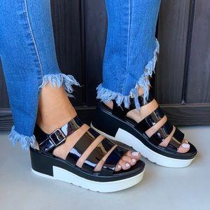 Buckle Shoes - Patent Caged Gladiator Strappy Platform Sandal